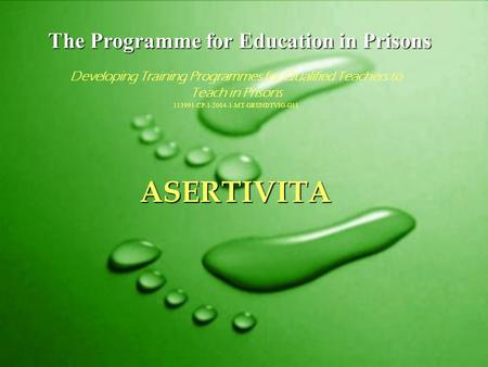 The Programme for Education in Prisons Developing Training Programmes for Qualified Teachers to Teach in Prisons 113991-CP-1-2004-1-MT-GRUNDTVIG-G11 ASERTIVITA.