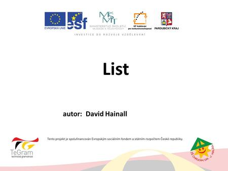 List autor: David Hainall.
