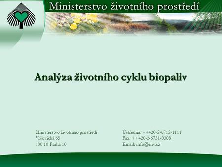 Ministerstvo životního prostředí výzvy