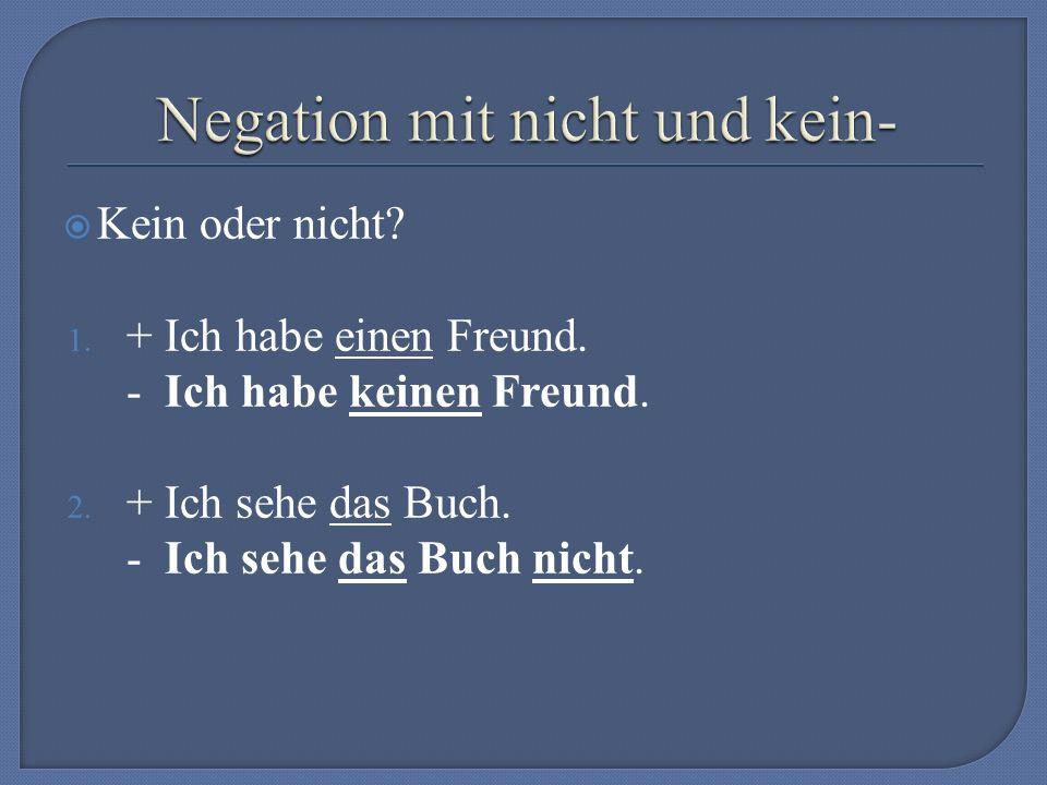 Utvořte záporné výpovědi, tzn.používejte kein- nebo nicht.