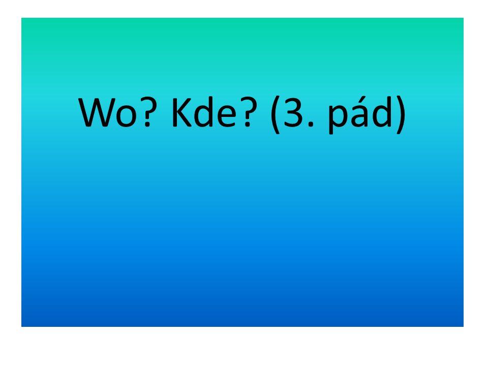 Slovesa, která odpovídají na otázku Wo.Kde. (3.pád) hängen viset Wo.