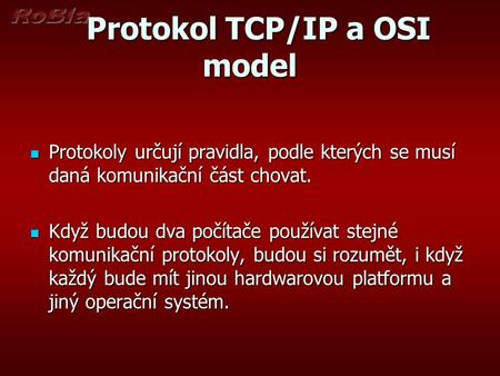 Protokol TCP/IP a OSI model