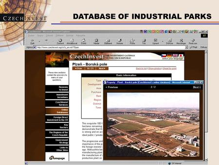 DATABASE OF INDUSTRIAL PARKS. MOTORWAY NETWORK IN THE CZECH REPUBLIC.