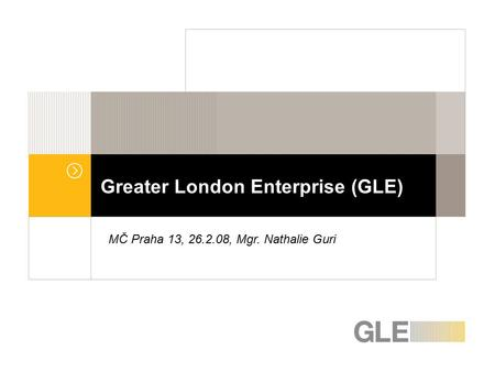 Greater London Enterprise (GLE) MČ Praha 13, 26.2.08, Mgr. Nathalie Guri.