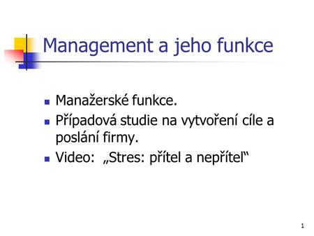 Management a jeho funkce