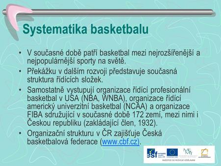 Systematika basketbalu