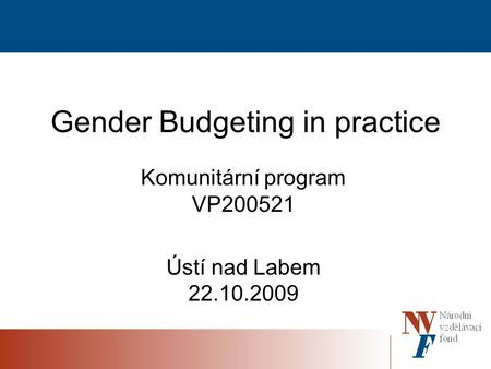 Gender Budgeting in practice Komunitární program VP200521 Ústí nad Labem 22.10.2009.