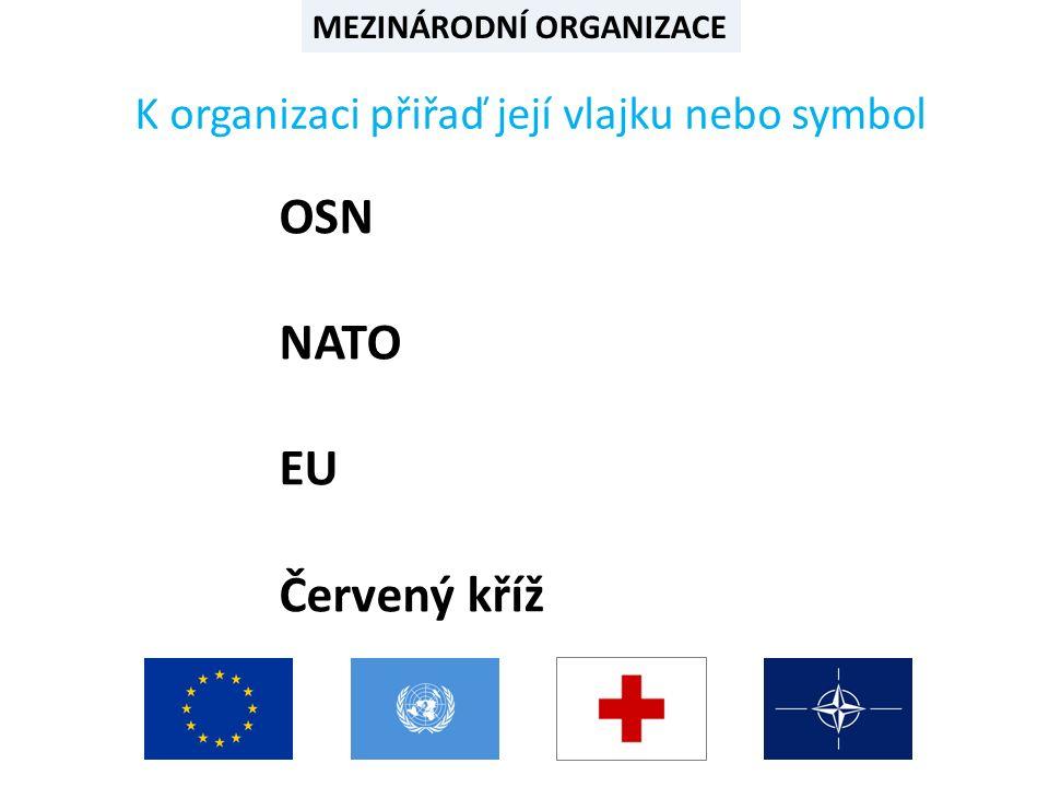 MEZINÁRODNÍ ORGANIZACE Řešení: OSN NATO EU Červený kříž