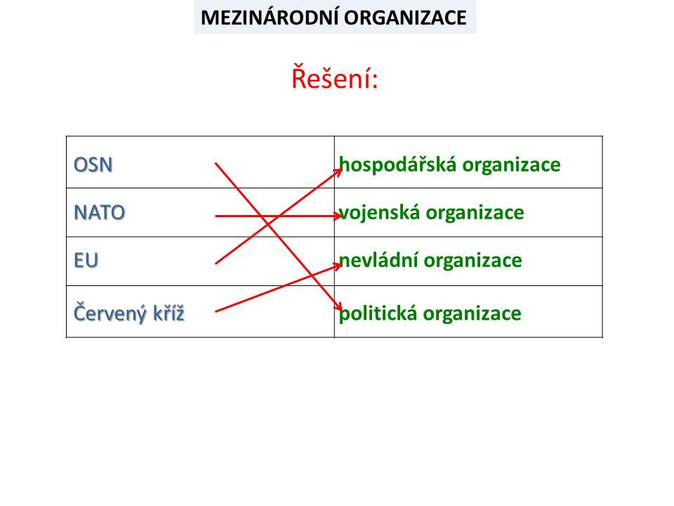 MEZINÁRODNÍ ORGANIZACE K organizaci přiřaď její vlajku nebo symbol OSN NATO EU Červený kříž