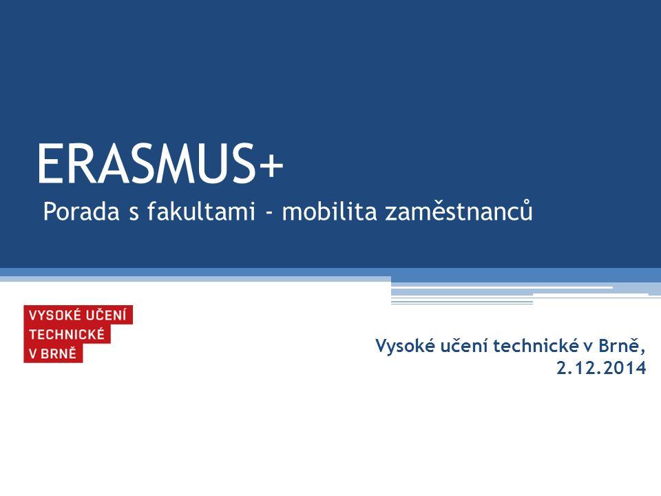 Program porady - zaměstnanci:  1.Podmínky k výběrovým řízením v programu Erasmus+  2.