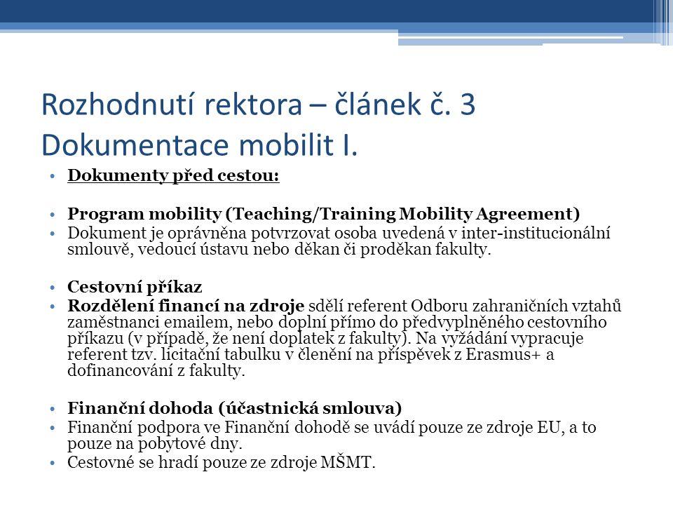 Rozhodnutí rektora – článek č.3 Dokumentace mobilit II.