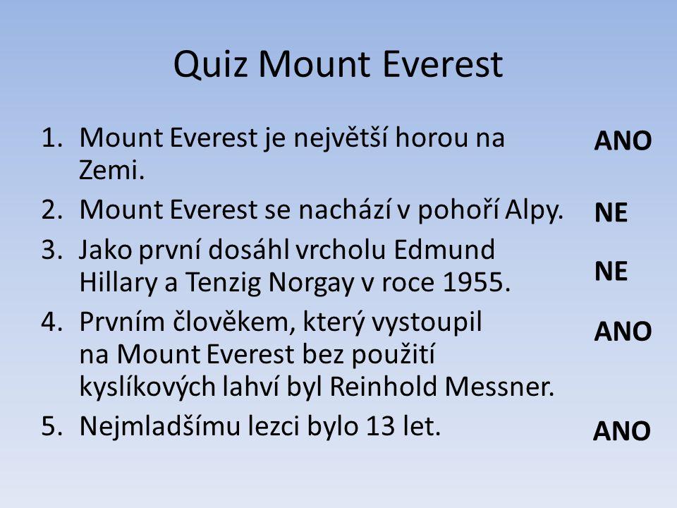 Quiz Mount Everest 1.Mount Everest je největší horou na Zemi.