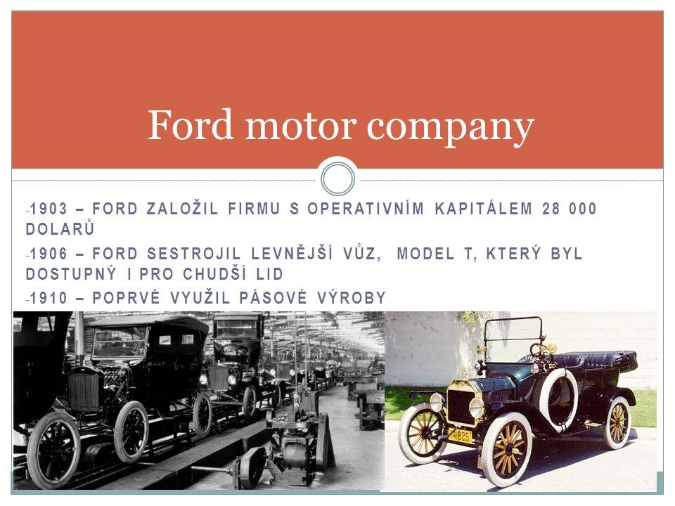 - DO ROKU 1914 SE FORDOVI PODAŘILO OVLÁDNOUT 50% AMERICKÉHO TRHU - 1914 – FORD ZAVEDL OSMIHODINOVÝ PRACOVNÍ PROVOZ, SLUŽBY ZAMĚSTNANCŮM, PODNIKOVÉHO LÉKAŘE - DĚLNÍK V AUTOMOBILCE FORD VYROBIL AŽ 4 KRÁT VÍCE AUTOMOBILŮ NEŽ V AUTOMOBILCE JINÉ Ford motor company