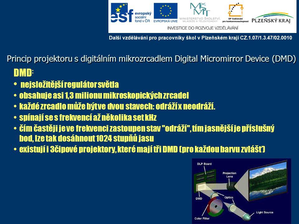 Princip projektoru s digitálním mikrozrcadlem Digital Micromirror Device (DMD) DMD : nejsložitější regulátor světla obsahuje asi 1,3 milionu mikroskopických zrcadel každé zrcadlo může být ve dvou stavech: odráží x neodráží.