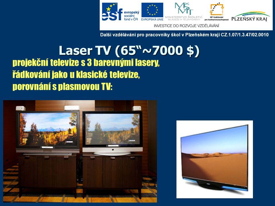 Laser TV (65 ~7000 $) projekční televize s 3 barevnými lasery, řádkování jako u klasické televize, porovnání s plasmovou TV: Další vzdělávání pro pracovníky škol v Plzeňském kraji CZ.1.07/1.3.47/02.0010