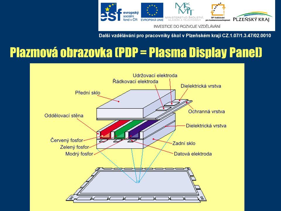 Plazmová obrazovka (PDP = Plasma Display Panel) Další vzdělávání pro pracovníky škol v Plzeňském kraji CZ.1.07/1.3.47/02.0010