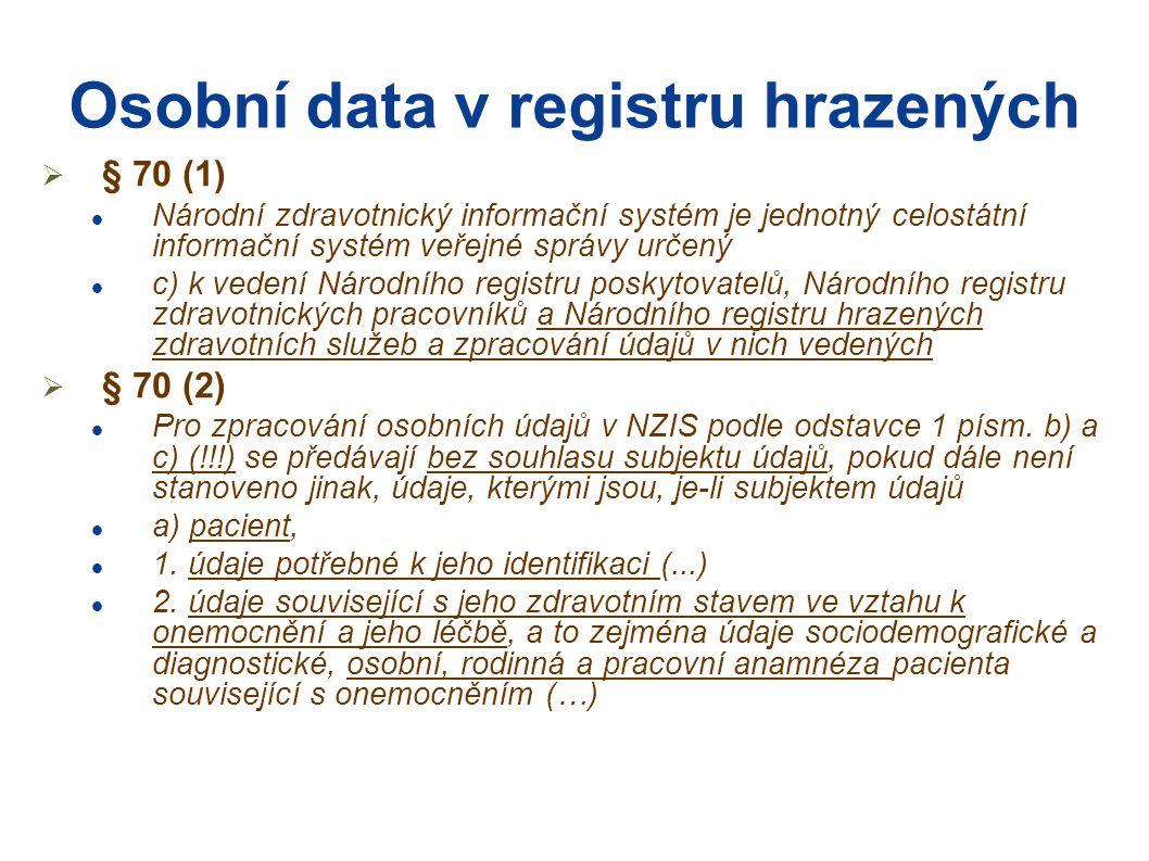 """Osobní data v registru hrazených  Dále nezapomeňme na """"zděděné sdružování dat dle § 73 (1) """"zděděný neurčitý účel zpracování  Přístup k datům dle § 73/2 (2) Přístup k osobním údajům a dalším údajům vedeným ve zdravotnických registrech má, nestanoví-li tento zákon jinak, e) oprávněný pracovník instituce, která má ze zákona právo využívat data určeného zdravotnického registru pro svoji činnost oprávněného pracovníka určují a žádost podle odstavce 2 předkládají subjekty uvedené v písmenech a) až e)."""