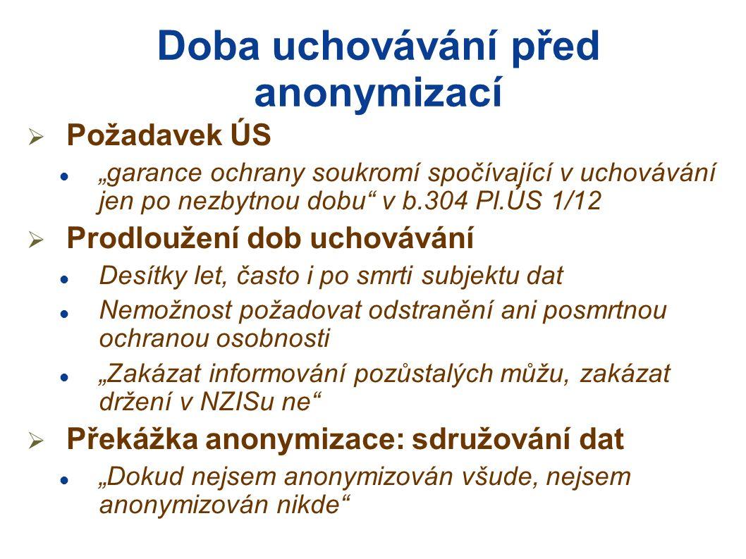 Uchovávání, anonymizace