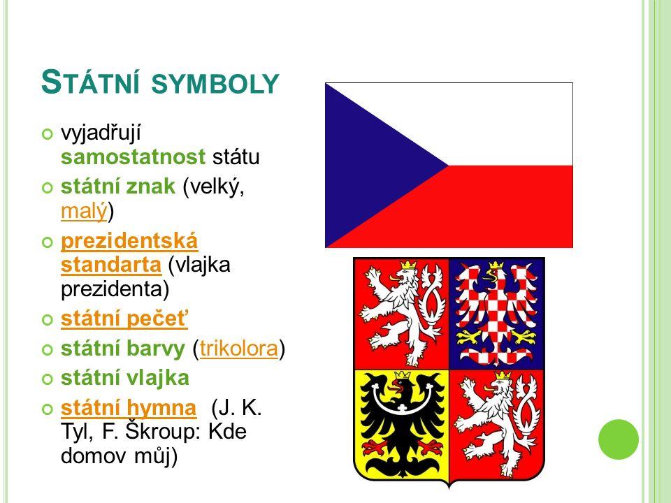 ZÁPIS DO SEŠITU Státní symboly státní znak (velký, malý) prezidentská standarta státní pečeť státní barvy (trikolora) státní vlajka státní hymna (J.