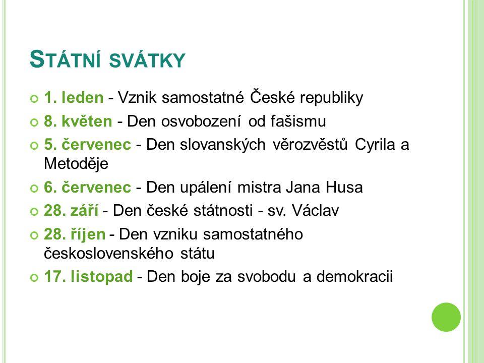 ZÁPIS DO SEŠITU Státní svátky 1.leden - Vznik samostatné České republiky 8.