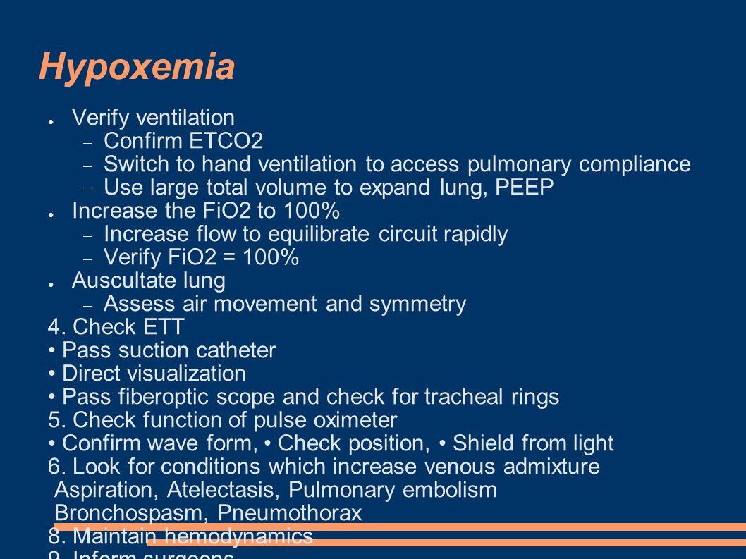 Hypoxemia ● zvyš FiO2 na 100%  zvyš příkon čerstvé směsi – rychle nové equilibrium  ověř FiO2 = 100% ● Ověř ventilaci  EtCO2  Ventiluj vakem, - vnímej plicní poddajnost  zkus PEEP a zvětšit dech.
