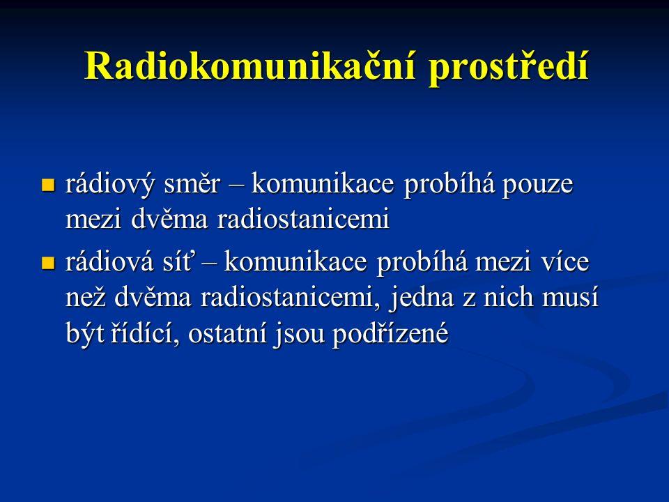 Radiokomunikační prostředí kmitočtový kanál (kmitočet) – určený k přenosu signálu, slouží pro zabezpečení simplexního provozu kmitočtový kanál (kmitočet) – určený k přenosu signálu, slouží pro zabezpečení simplexního provozu kmitočtový pár – dvojice kmitočtových kanálů sloužících pro zabezpečení semiduplexního provozu kmitočtový pár – dvojice kmitočtových kanálů sloužících pro zabezpečení semiduplexního provozu
