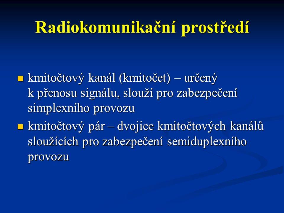 Radiokomunikační prostředí hlavní provozní kmitočet – kmitočet nebo kmitočtový pár pro zabezpečení radiokomunikace mezi operačním střediskem, jednotkami PO a složkami IZS hlavní provozní kmitočet – kmitočet nebo kmitočtový pár pro zabezpečení radiokomunikace mezi operačním střediskem, jednotkami PO a složkami IZS radiokomunikační síť PEGAS – digitální rádiová síť, provozovatelem je Ministerstvo vnitra radiokomunikační síť PEGAS – digitální rádiová síť, provozovatelem je Ministerstvo vnitra DIR kanál – kmitočet určený pro provoz sítě PEGAS v přímém módu.