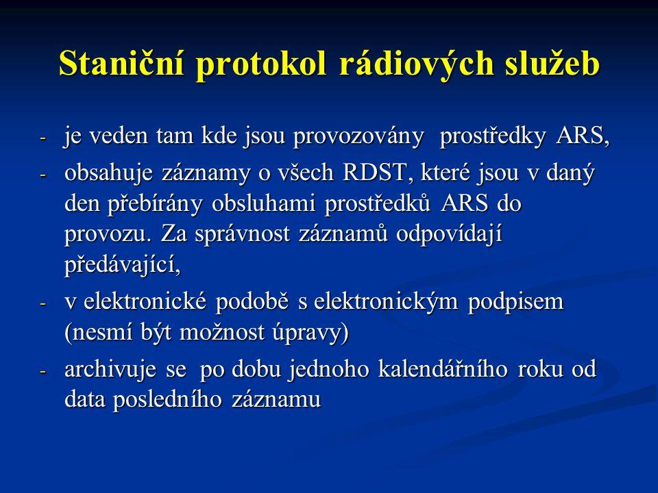 Provozní deník řídící radiostanice - ve formě zvukového záznamu na OPIS, případně u jiné řídící základnové RDST dílčí rádiové sítě.