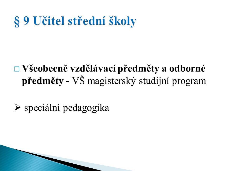 Učitel všeobecně vzdělávacích předmětů  VŠ magisterský stud.