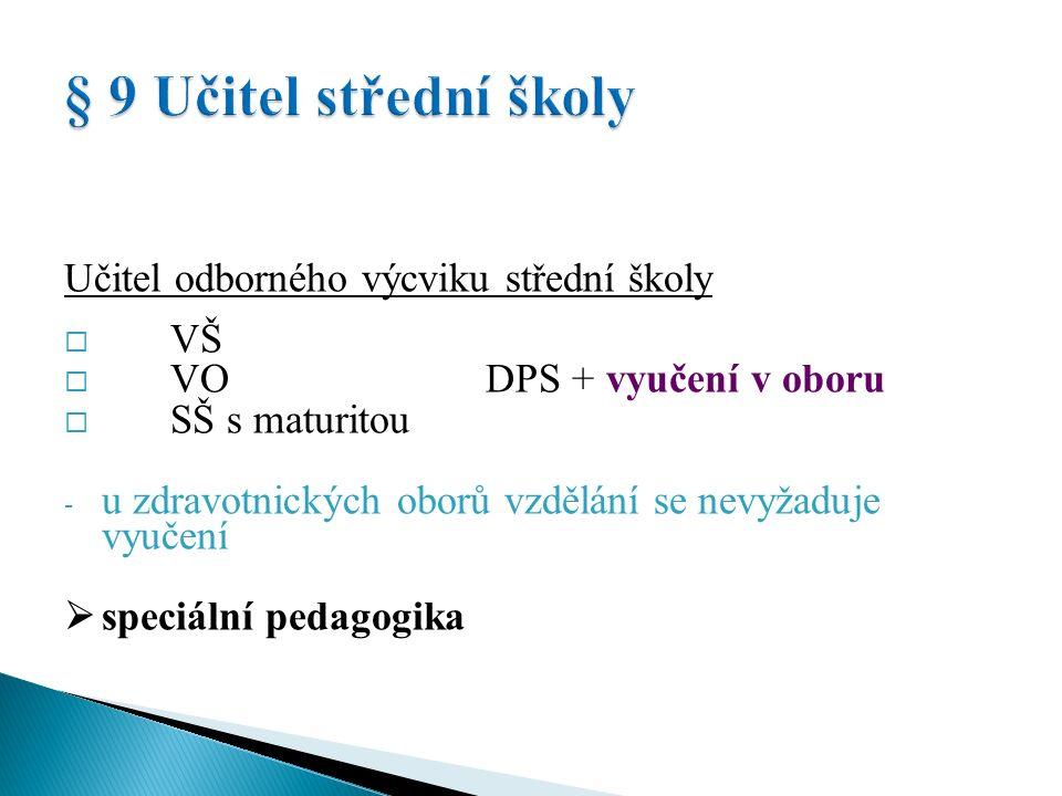 Učitel odborného výcviku střední školy  VŠ  VO + DPS  SŠ s maturitou  SŠ s výučním listem  speciální pedagogika