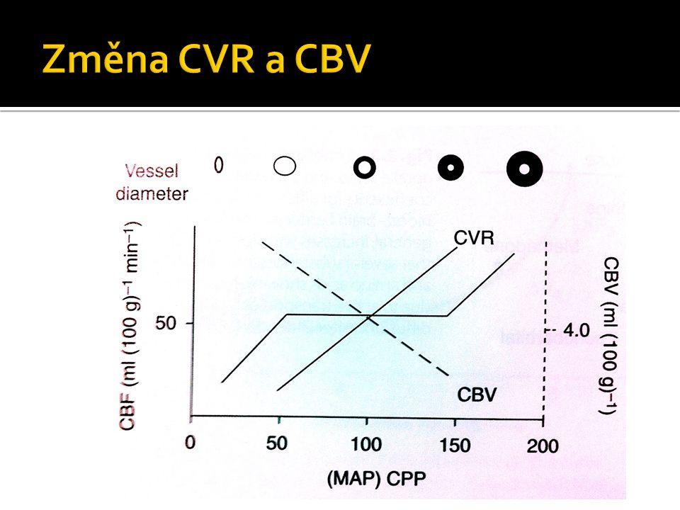  průměrná hodnota ≥ 50ml/100g mozkové tkáně/minutu  70ml/100g/min - šedá hmota  20ml/100g/min - bílá hmota  patologické hodnoty CBF  15-20ml/100g/min - reverzibilní hypoxie (penumbra)  <10-15/100g/min - ireverzibilní ischemie, nekróza