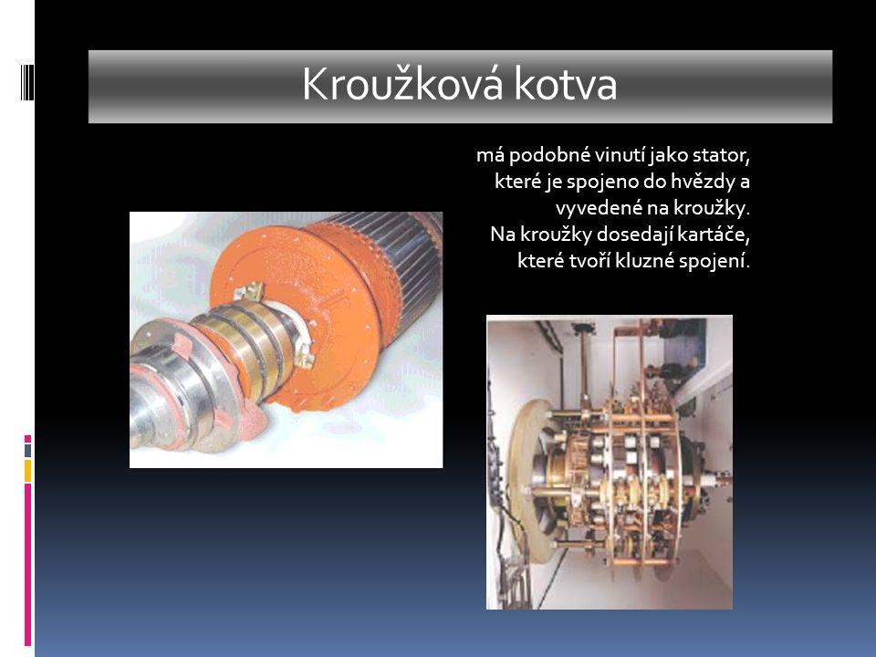 Princip činnosti as.motoru  Moment stroje vzniká elektromagnetickým působením točivého magnetického pole vytvořeného statorovým vinutím na vinutí rotoru, které je spojeno nakrátko.