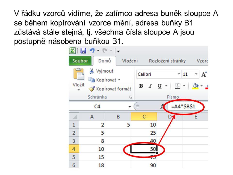 úkol Vytvořte posloupnost 40 čísel počínající 15 Do vedlejšího sloupce napište pod sebe tato čísla 5, 8, 2 V dalším sloupci přičtěte ke všem číslům prvního sloupce 5 V dalším sloupci odečtěte od všech čísel prvního sloupce 8 V dalším sloupci vynásobte všechna čísla prvního sloupce 2 Použijte při výpočtech absolutní adresaci