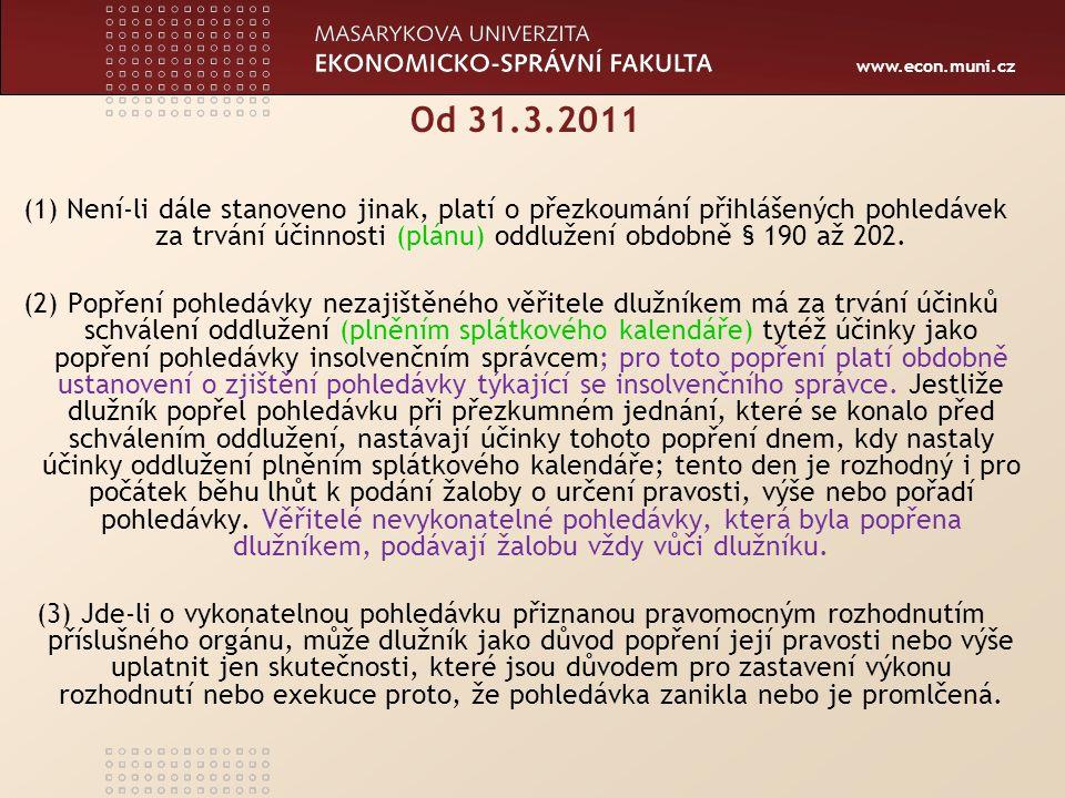 www.econ.muni.cz Popření pohledávky ins.