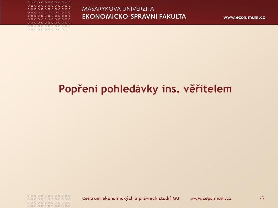 www.econ.muni.cz Aktivní legitimace k popření pohledávky - § 192 IZ (do 30.3.2011) (1) Dlužník a insolvenční správce mohou popírat pravost, výši a pořadí všech přihlášených pohledávek; jednotliví věřitelé toto právo nemají.