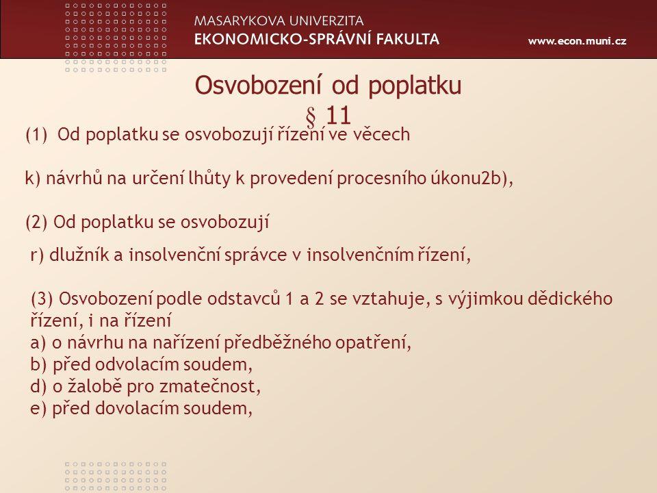 www.econ.muni.cz SAZEBNÍK POPLATKŮ