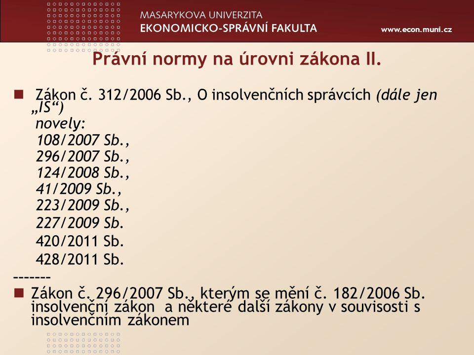 www.econ.muni.cz Právní normy podzákonné Prováděcí právní předpisy (částka 100 Sbírky 2007): -vyhl.