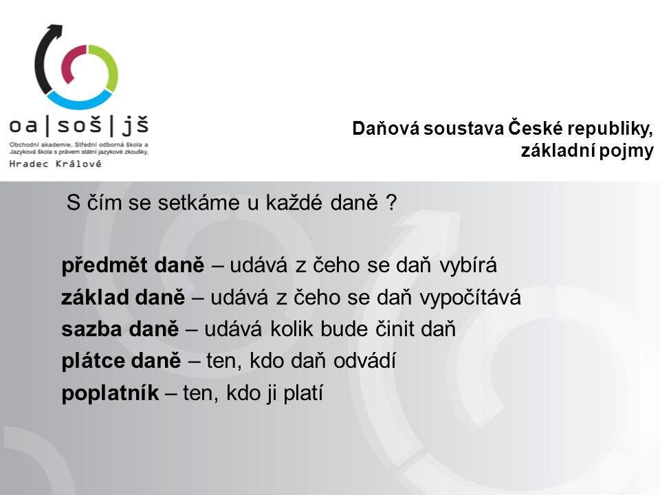 Daňová soustava České republiky, základní pojmy Funkce daní  Fiskální  Regulační  Stimulační  Sociální