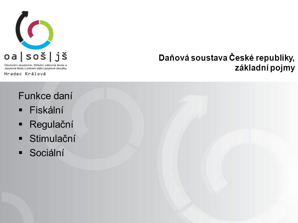 Daňová soustava České republiky, základní pojmy