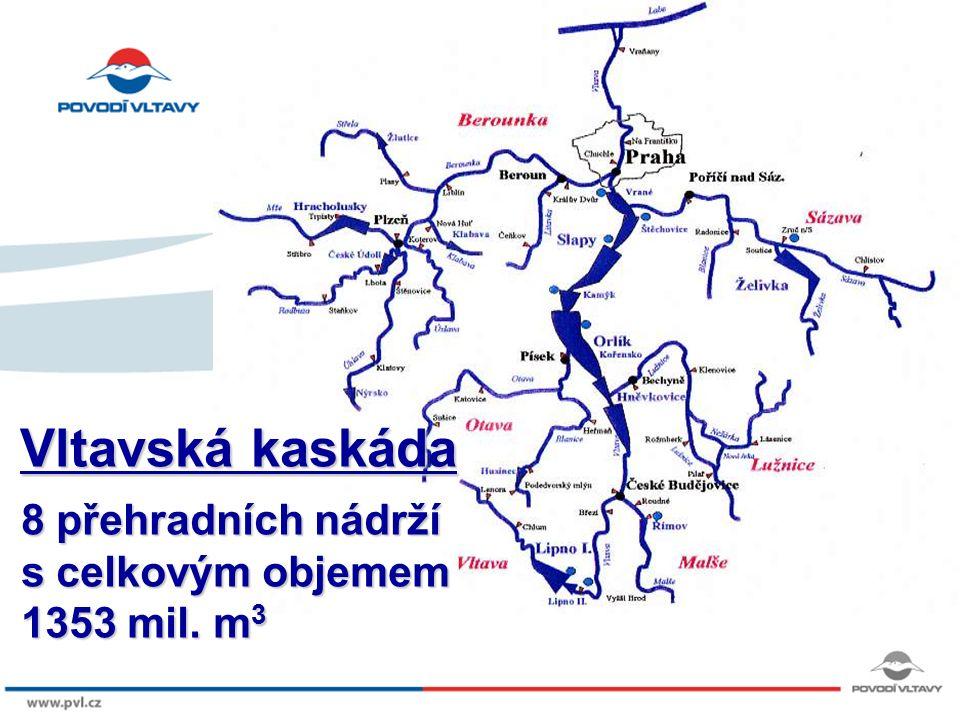 8/9/12 POVODÍ VLTAVY plochy povodí VD Lipno 948 km 2 VD Orlík 12.106 km 2 Vltava 28.708 km 2 v ČR 51.390 km 2