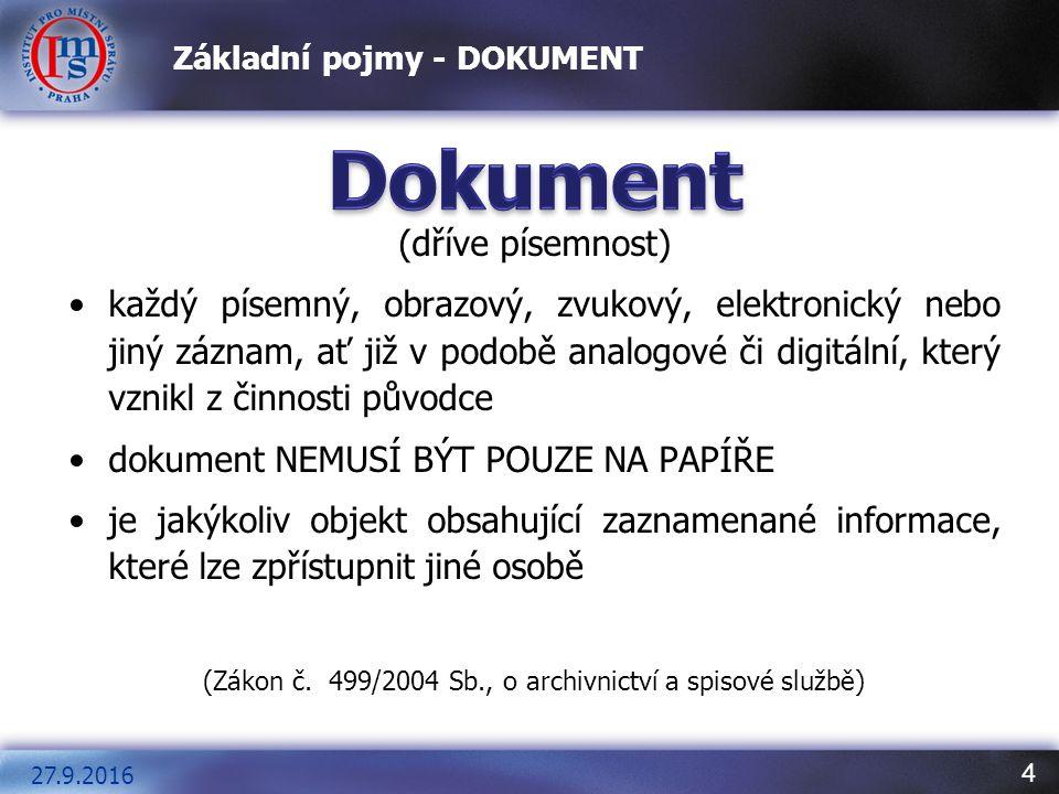 5 Základní pojmy - DOKUMENT Dokument Listina (= listinná podoba dokumentu) je písemnost zachycena na papírovém nosiči, tedy papírový dokument nebo doklad Datová zpráva (= elektronická podoba dokumentu) je písemnost zachycená na nosiči, který umožňuje provést záznam elektronicky, optoelektronicky nebo jiným obdobným způsobem; jde o elektronický dokument (dokument vznikne buď jako původní nebo převodem z listinné podoby) 27.9.2016