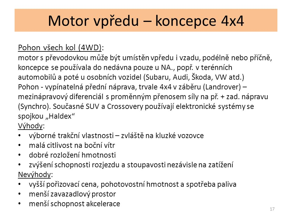Motor vpředu – koncepce 4x4 18