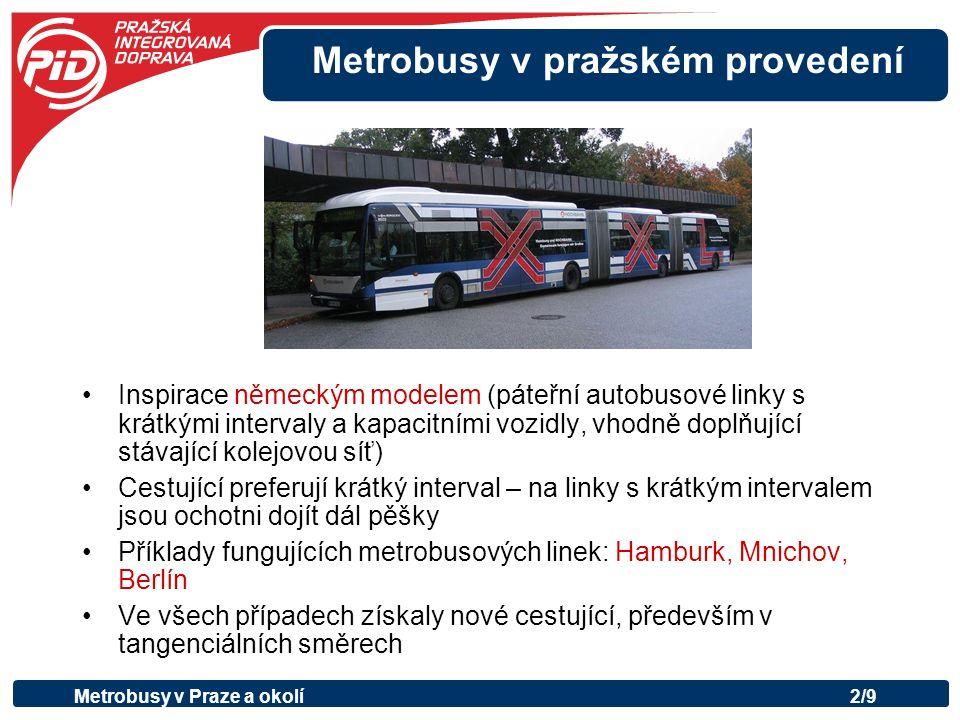 Metrobusy v pražském provedení Zjednodušení linkového vedení –hierarchizace dopravní sítě – nadřazený systém páteřních linek a na něj navazující doplňkové linky místního významu –méně linek, zkrácení intervalů –autobusová síť navazuje na kolejovou dopravu –zlepšení návazností a přestupů Nasazení kapacitních kloubových autobusů Zajištění dostatečné míry preference Propagace nadřazeného systému linek Metrobusy v Praze a okolí3/9 Co to znamená?