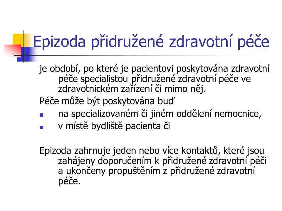 Epizoda přidružené zdravotní péče (AHP) - příklady AHP pacienti jsou v další ose dále klasifikováni podle typu konkrétní přidružené zdravotní služby (tedy jako pacienti fyzioterapeutičtí, pacienti pracovní terapie atd.), 02 Dietetics 03 Occupational Therapy 04 Orthoptics 05 Physiotherapy 07 Radiography & Radiotherapy 08 Prosthetics / Orthotics 09 Speech and Language Therapy...............