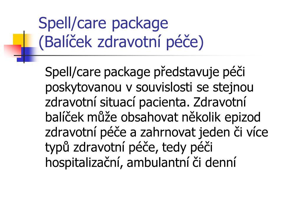 Spell/care package (Balíček zdravotní péče) Epizody jsou slučovány do balíčků buď z klinických důvodů (proto, že několik epizod je vzájemně ovlivněno nějakým obecným zdravotním problémem pacienta, např.