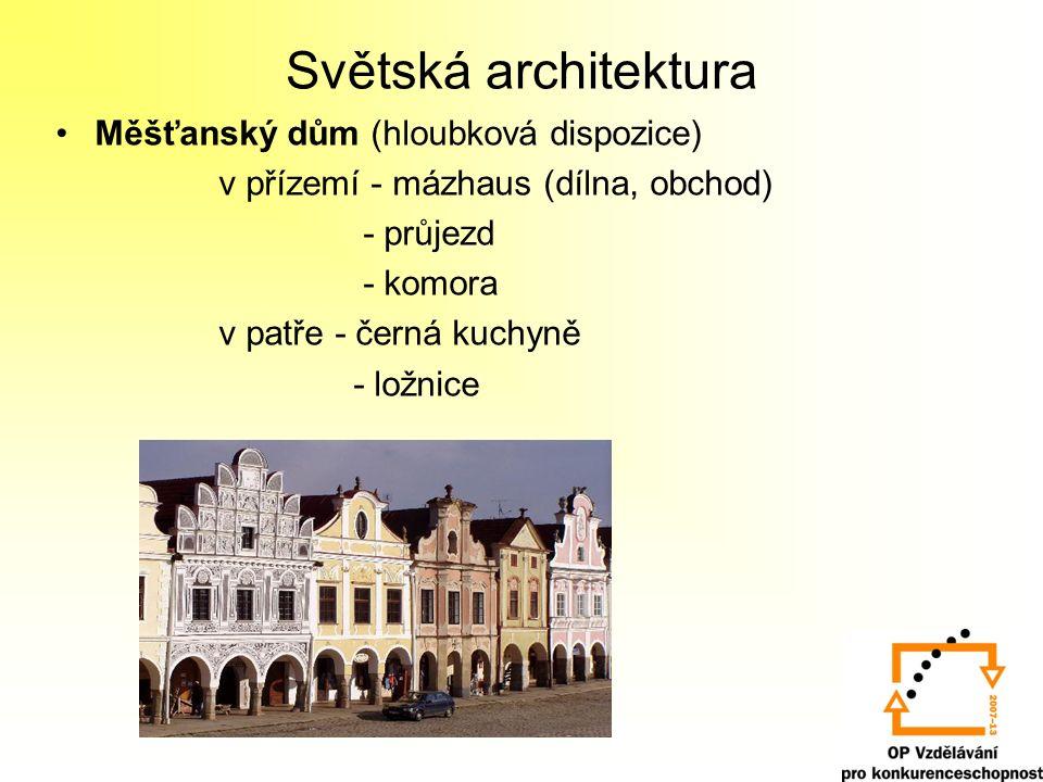 Gotický hrad = opevněné sídlo feudála části: palác, kaple, obranná věž, hradby, obydlí pro služebnictvo, hospodářské budovy, hladomorna