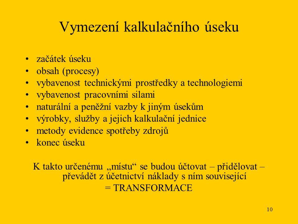 """11 Schémata kalkulačního systému dle Vysušila Transformace nákladů z druhového třídění na třídění """"kalkulační ."""