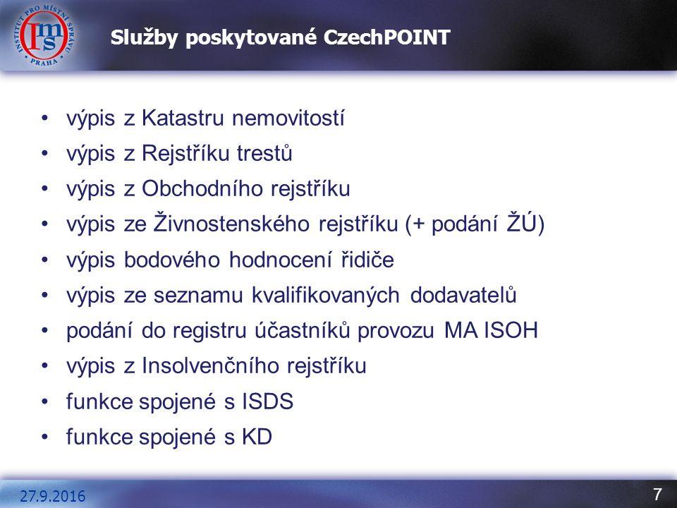 8 Připojení k centrále CzechPOINT https://www.czechpoint.cz Komerční certifikát Používá se pro bezpečné přihlášení obsluhy k centrále CzP.