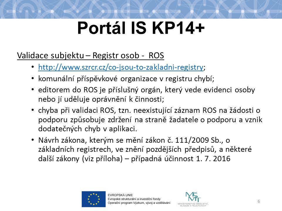 Portál IS KP14+ Komunikace žadatele/příjemce s ŘO Veškerá komunikace probíhá prostřednictvím aplikace; Depeše – komunikace v rámci týmu, komunikace s poskytovatelem podpory, technickou podporou; Upozornění – informace pro všechny uživatele – odstávky, změny v aplikaci; Notifikace – zasílání upozornění na e-mail.
