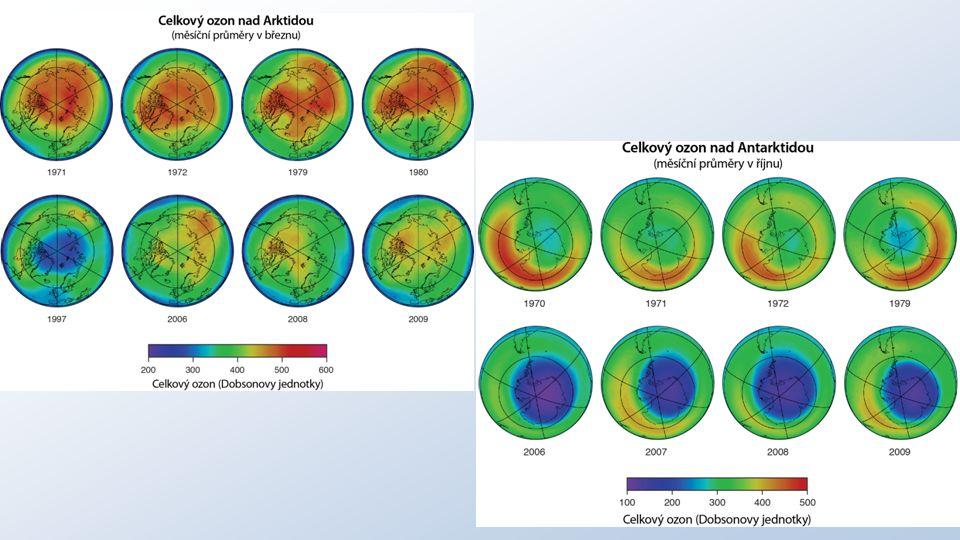 vrstva ozónu zabraňuje pronikání většiny biologicky škodlivého ultrafialového záření k povrchu Země zeslabení nebo dokonce vymizení části této vrstvy, tzv.